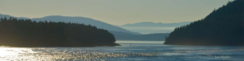 Light filled view of the active passage ways through the Salish Sea