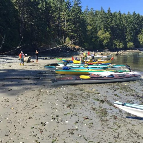 Kayaks on a beach during the Peoples Paddle for the Salish Sea 2015