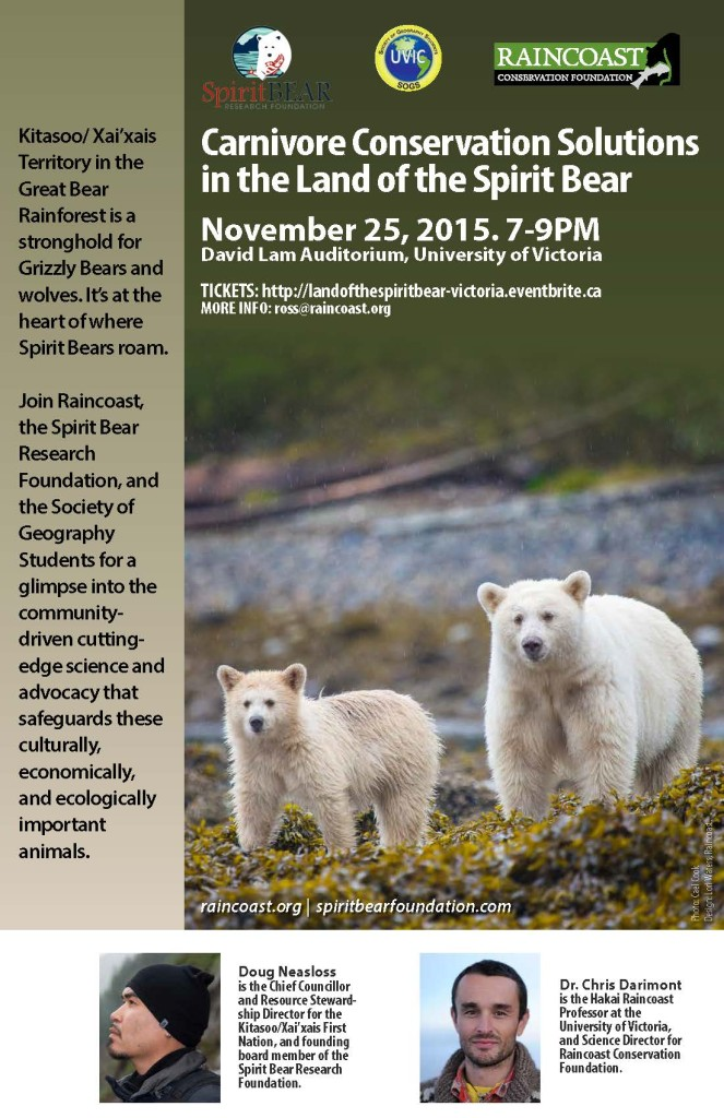 Land of the Spirit bear - Victoria event poster