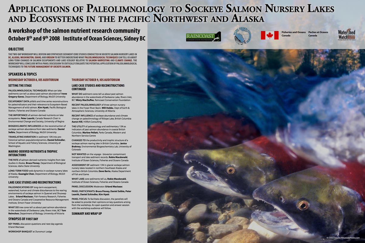 Poster image: Applications of Paleolimnology to Sockey Salmon Nursery Lakes and Ecosystems in the Pacific Northwest and Alaska.