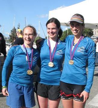 Salmon Team runners Rachel Maser, Heather Bryan & friend Anne-Marie Madden celebrate their marathon finish.