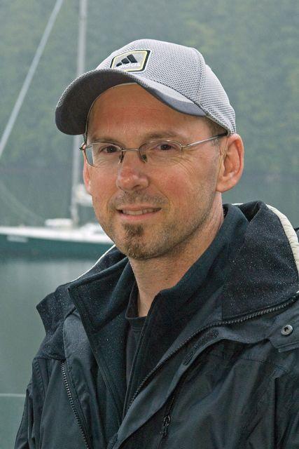 Artist Ray Ward at the Great Bear Lodge, village of Klemtu, north coast of British Columbia, Canada.
