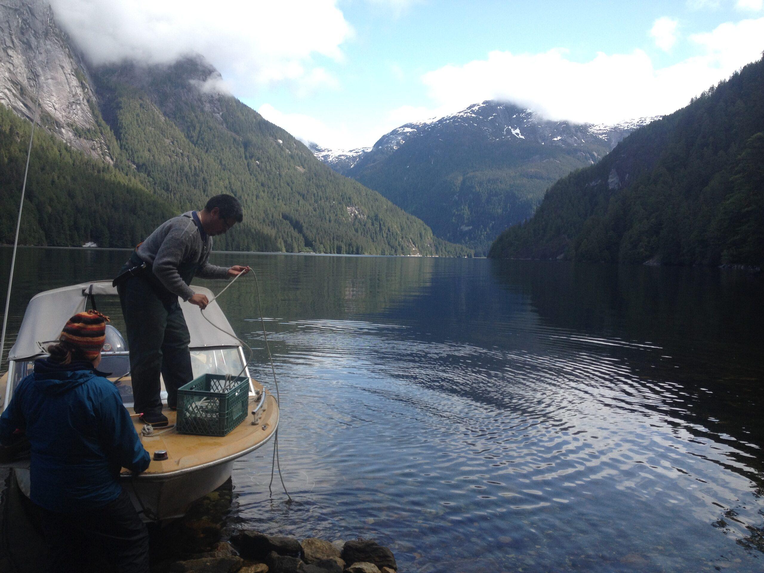 Howard preparing the anchor on Mango, one of the Raincoast boats.