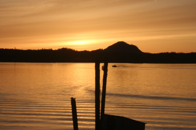 The first of many beautiful sunsets in Heiltsuk territory.