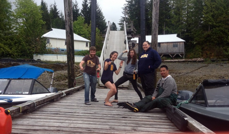 The Bella Bella Bear Crew on the dock at the Field Station.