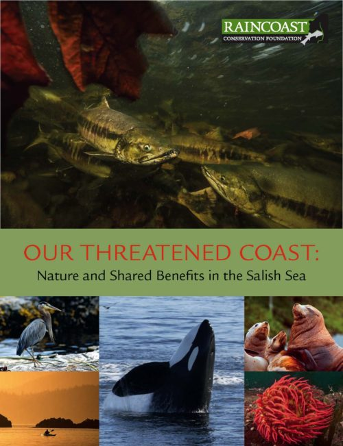 Our Threatened Coast report cover with salmon, whales, and birds.