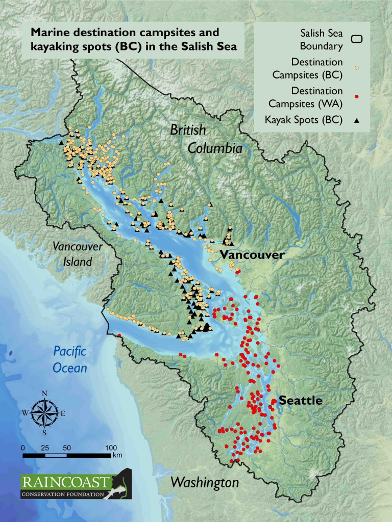 fig5.2-sea kayaking sites and destination campsites in the Salish Sea-web