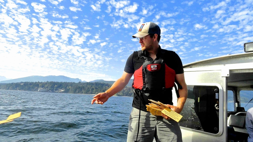 Raincoast researcher throws a drift card into the water off a boat