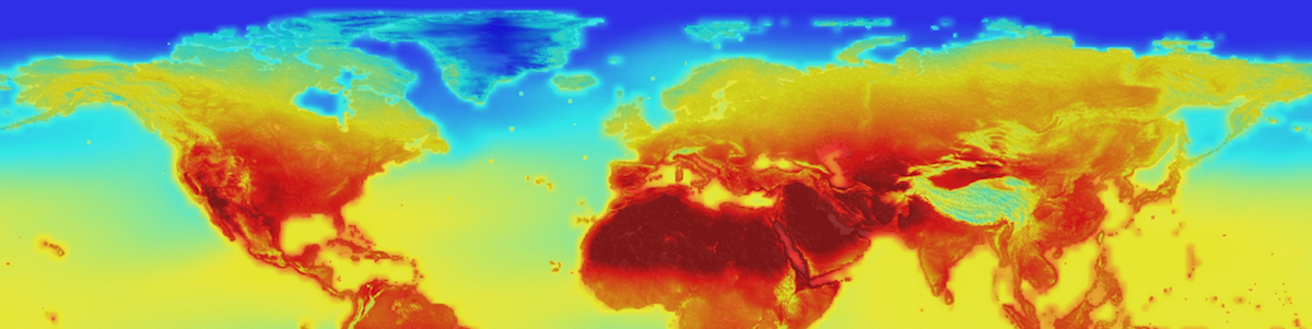 A heat map of the world with bright orange and red sections showing warming.