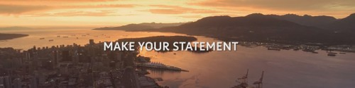 "Aerial photo of a coastal harbour with the words ""make your statement"""