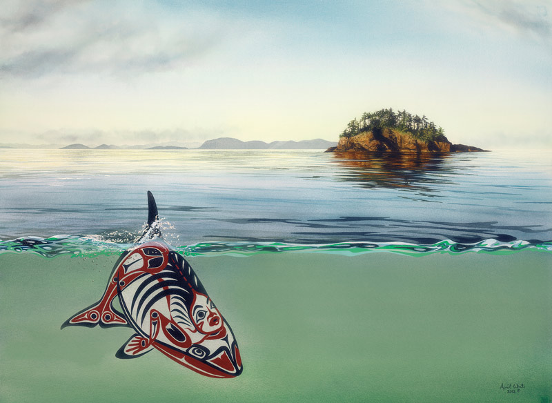A First Nations motif Orca swims in the ocean in front of an island in coastal BC.