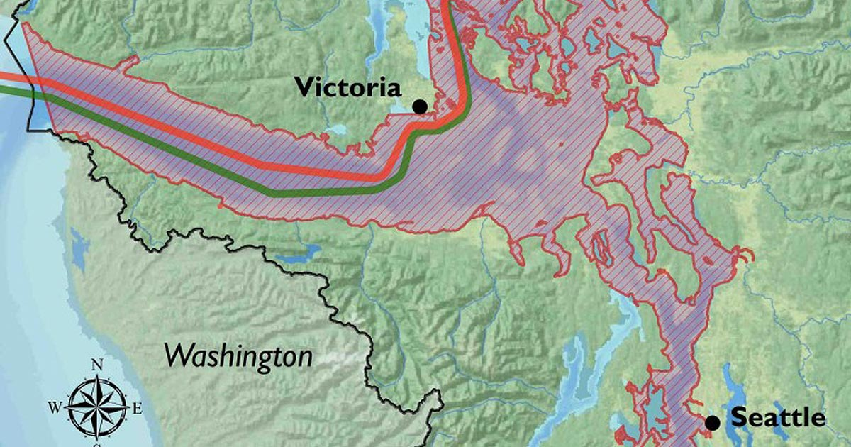 Close up map of the Salish Sea, illustrating Southern Resident killer whale critical habitat, and overlapping oil tanker routes