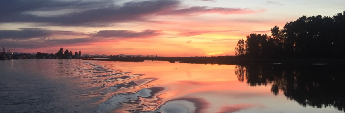 Sunset over Fraser River estuary, showing important fish and wildlife habitat