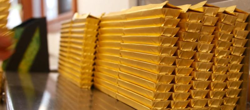 Chocolate bars, Grizzly Bars, lined up for shipping.