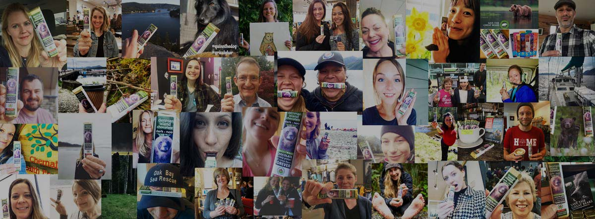 A collage of social media contest entries with the Grizzly Bar.