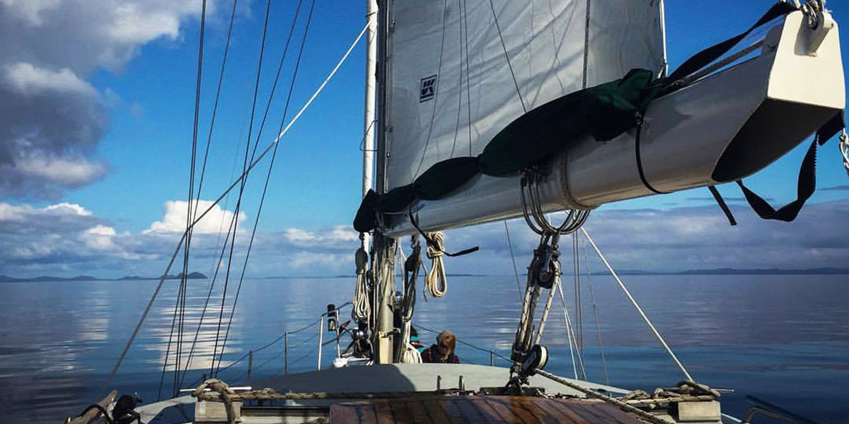 Nick Sinclair sits aboard the Achiever in a moment of calm and clear skies.