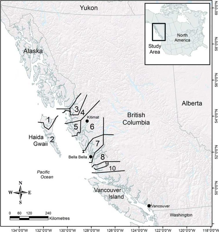 A map of regions of salmon runs in BC: figure 1.