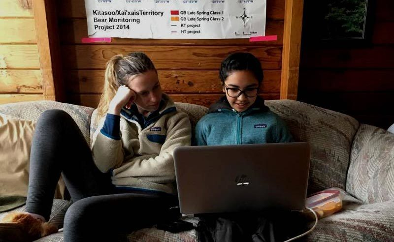 Emma and Mercedes doing data entry in the field station.
