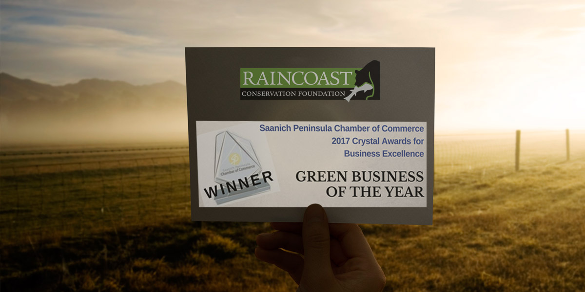 Holding up our Green Business of the Year Award notice, with Saanich fields in the background.