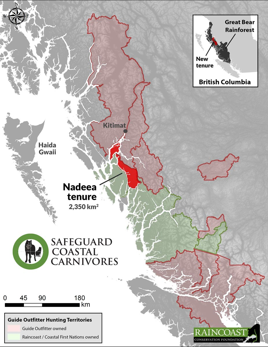 A map of guide outfitter hunting tenures in the Great Bear Rainforest, showing the new tenure we are working to acquire.