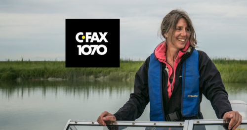 Chris Darimont close up with the CRFAX 1070 logo floating in the background.