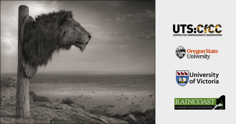 A lion head is attached as a trophy to a post overlooking a large expanse of desert, and several University logos on the right hand side.