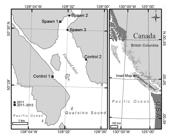 Fig. 1. Locations of beaches on which Pacific herring