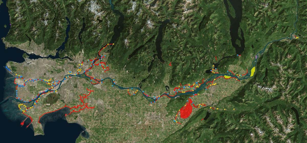 Map of the Lower Fraser River.