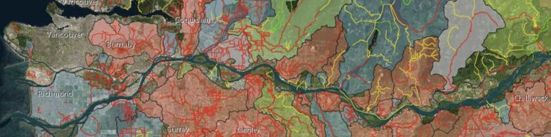 A screenshot of the interactive map and living atlas of the Lower Fraser River.