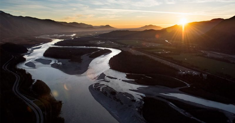 An aerial photo of the stunning vista and sunset over the Heart of the Fraser.