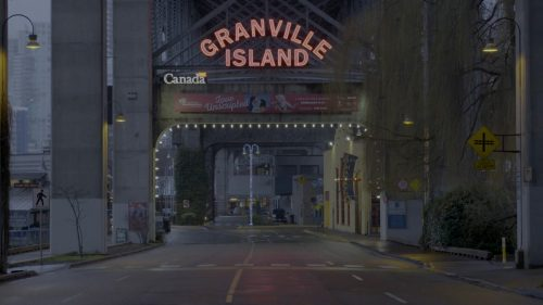 "The entrance to Granville Island has a sign up that says, ""Granville Island."""