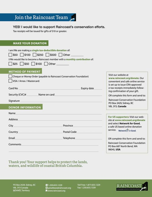 A screenshot of the Raincoast donation form (2019)