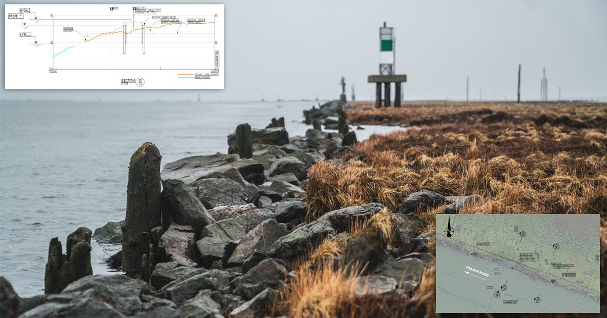 Steveston Jetty on a grey day, with overset diagrams showing some of the work we're doing.