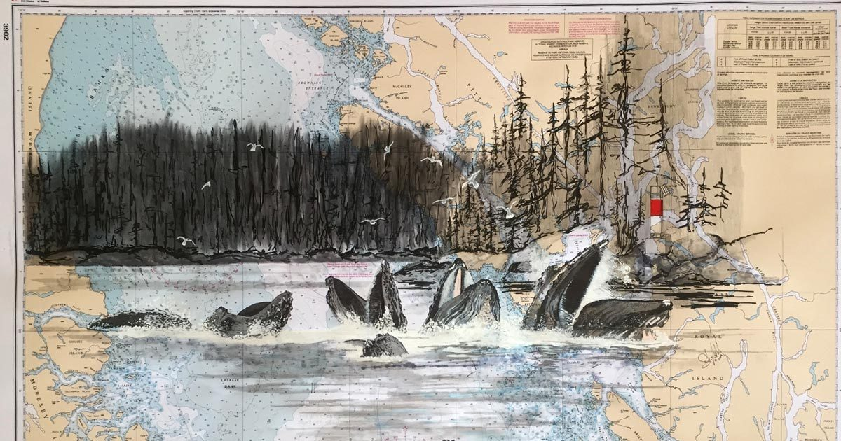 Forest and Humpbacks drawn over a map of the Hecate Strait.