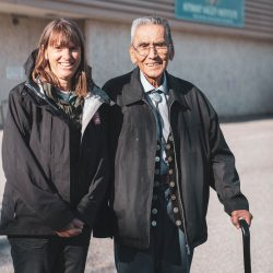 Briony Penn and Cecil Paul, Wa'xaid, at the Kitimat Valley Institute.