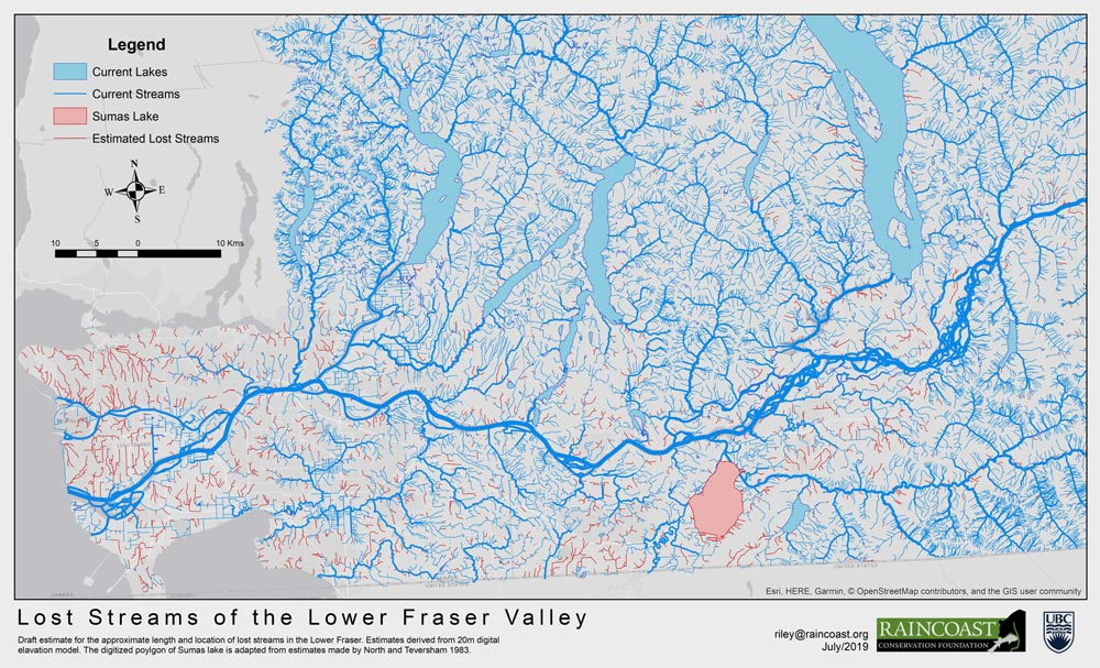 Map of streams and lost stream in the Fraser river watershed.