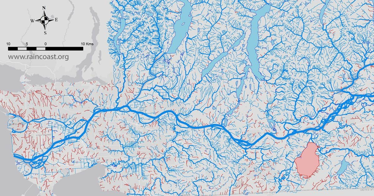 Close up of a map of streams and lost stream in the Fraser river watershed.
