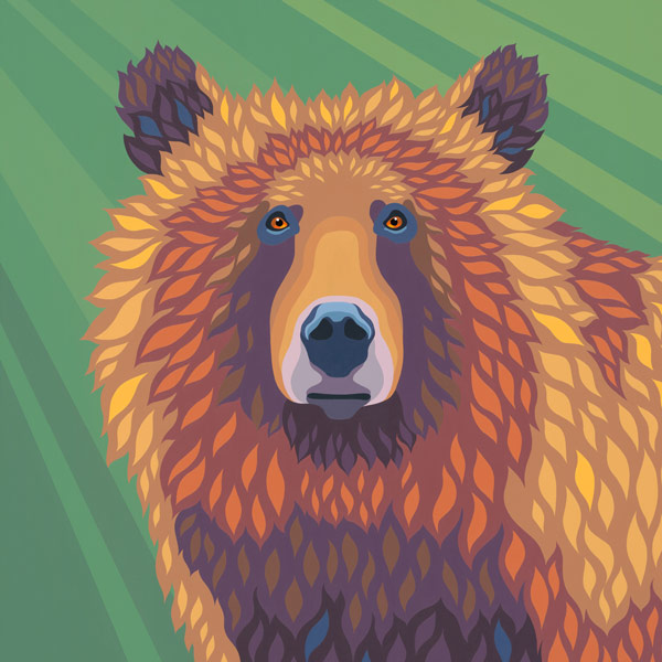 Close up of a painting of a golden grizzly.