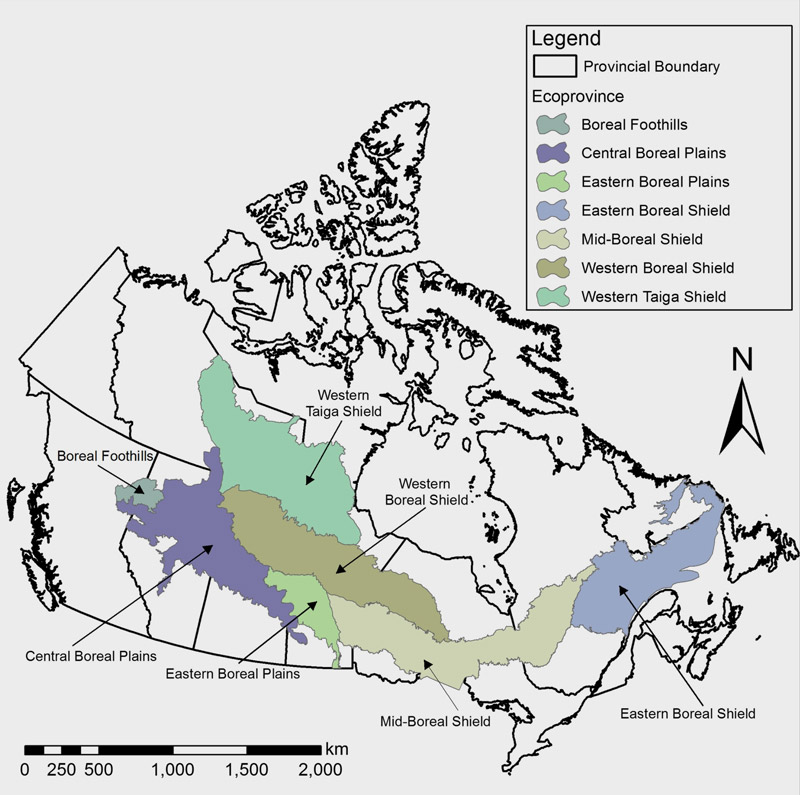 Map, Figure 2: Boreal forest of Canada and its seven ecoprovinces, where wolf location data was available.