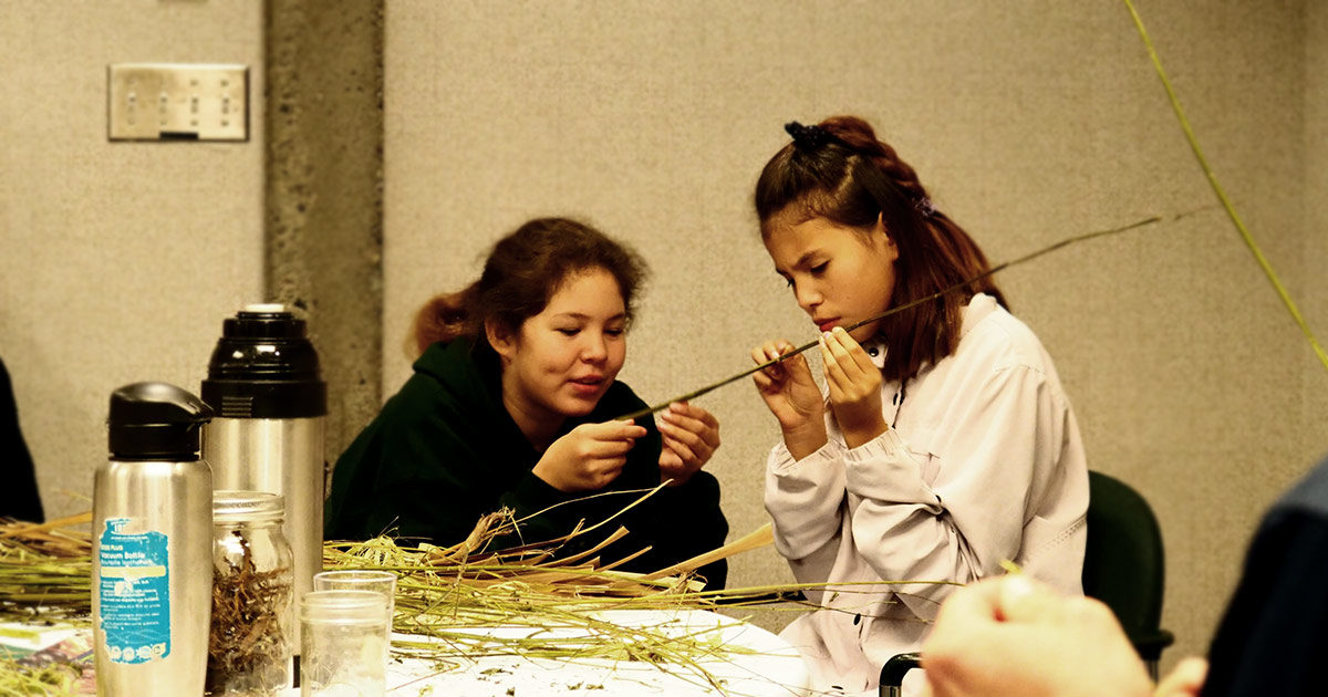 Two young students examine inner fibres of stinging nettles at the University of Victoria.