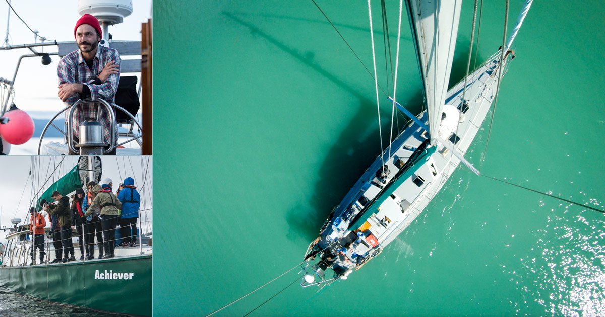 A collage of three photos of the Achiever, its captain Nicholas Sinclair and people on the ship.