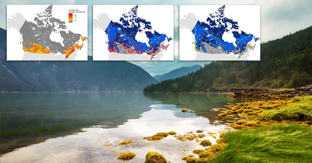 Three maps of human populations especially Indigenous communities, overlaid on a photo of mountains and waters of the Great Bear Rainforest.