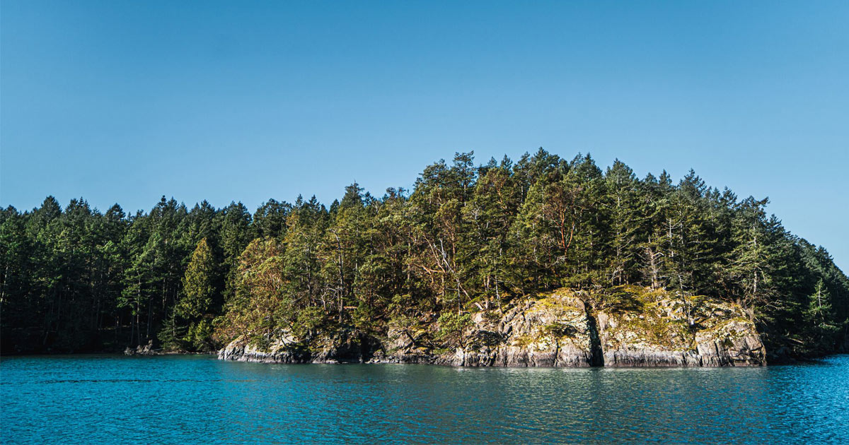 Gulf island cliff and forest over the Salish Sea.