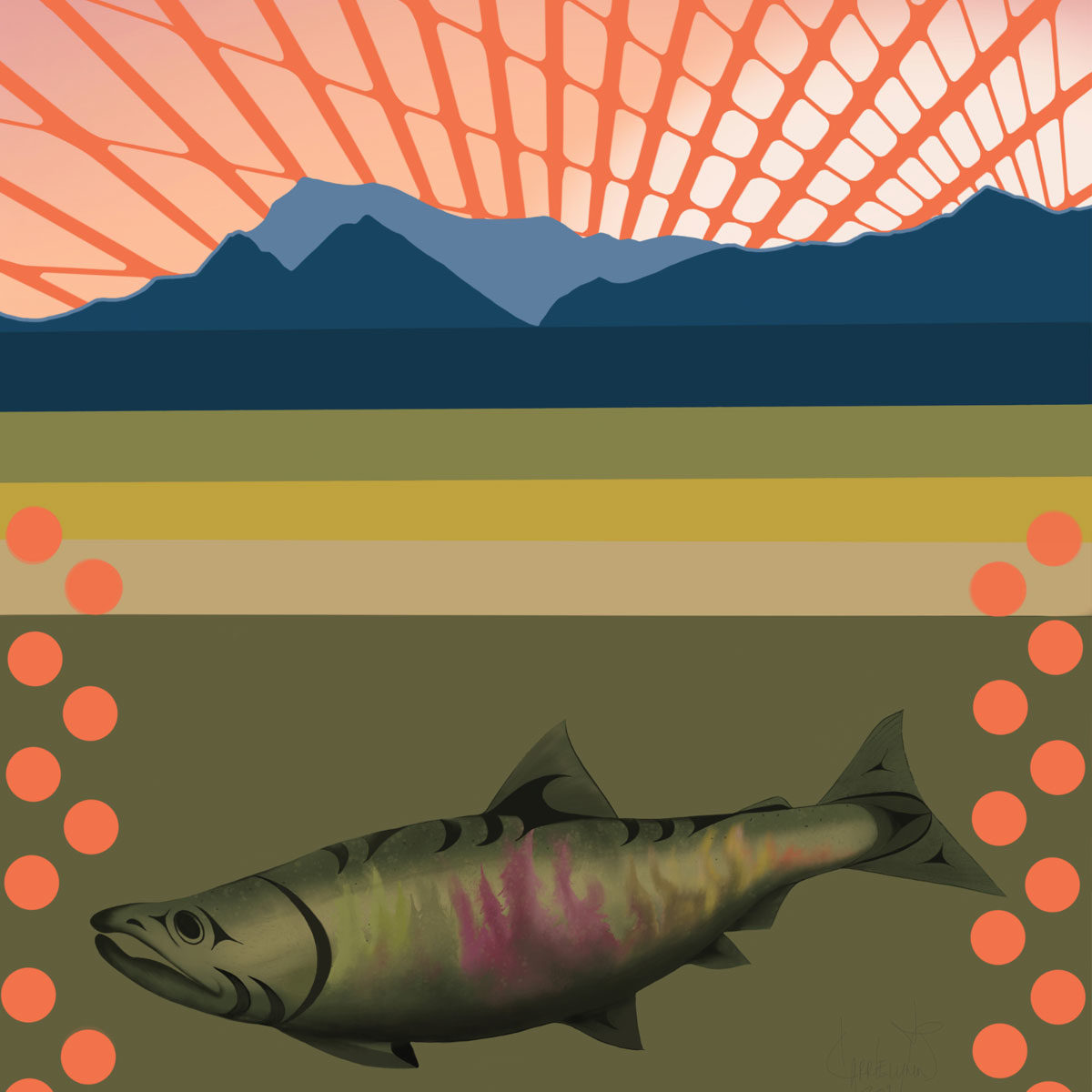 Salmon art with a forest on the side of the salmon and orange polka dots around it.
