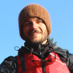 Andrew Bateman with toque and life jacket.
