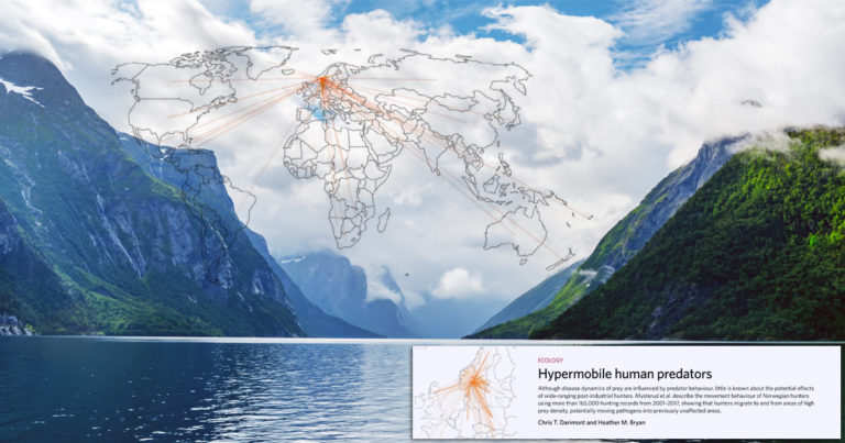 A map of disease vectors is overlayed on a photo of a Norwegian Fjord, with a headline at the bottom: Hypermobile human predators.