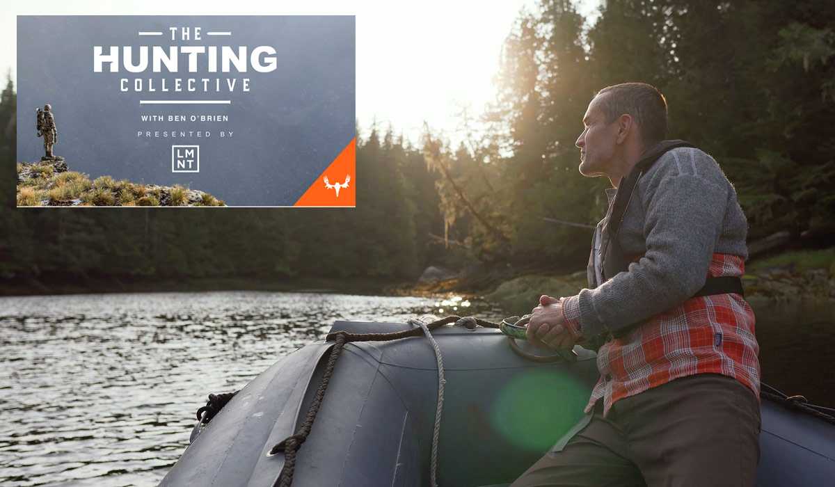 The Hunting Collective podcast brand to the left of Chris Darimont on a river in the central coast.