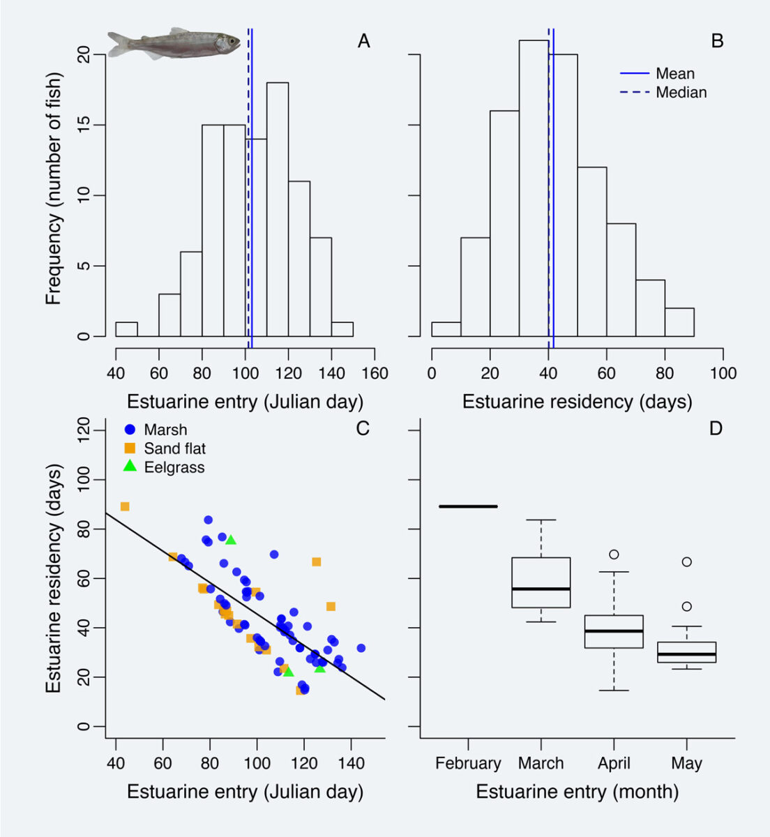 Figure 4 from Lia Chalifour's paper showing estuary frequencies and locations of Chinook salmon.