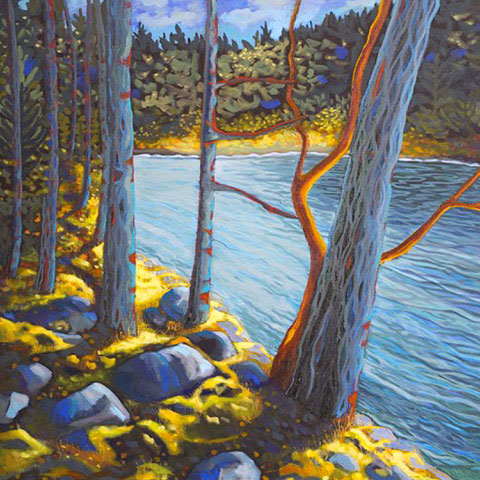 Painting, Between Earth and Sky, by Mae Moore, of water and rocks and trees in blue and yellow.