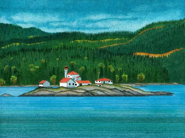 Entrance Island Lighthouse painting, by Lawrie Dignan.